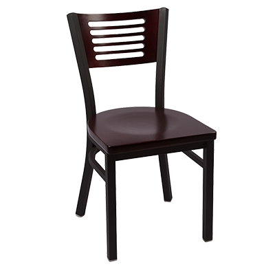 JMC Furniture Clear Coat Finish Metal Frame Indoor Slotted Wood Back Side Chair