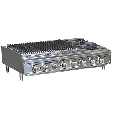 "superior-equipment-supply - Royal Range Of California - Royal Range Stainless Steel Countertop Gas Charbroiler/Hotplate 36""W"