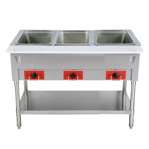 "Omcan 44"" Wide Stainless Steel Electric Hot Food Table with Three Hot Food Wells 12.8"" x 20.78"" x 6"""