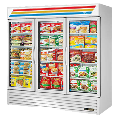 superior-equipment-supply - True Food Service Equipment - True Three-Section Twelve Shelf Three Hinged Glass Door Powder Coated Exterior Freezer Merchandiser