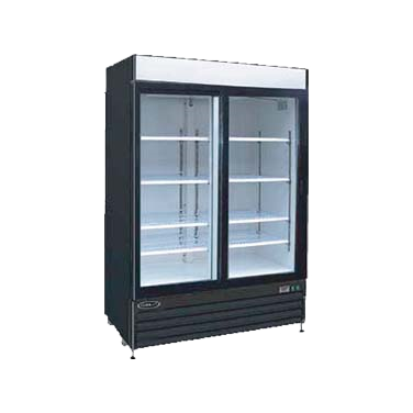superior-equipment-supply - MVP Group - Kool-It Black Powder-Coated Steel Two Section Two Glass Door Refrigerated Merchandiser 36 cu. ft.