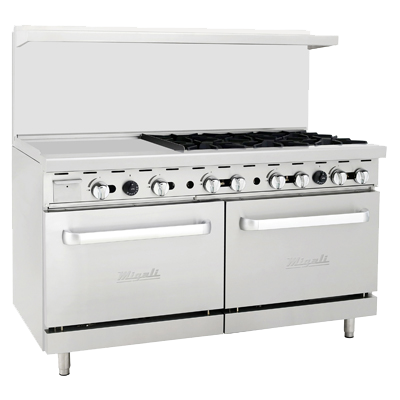 "superior-equipment-supply - Migali - Migali 60""W Stainless Steel Six Burner Natural Gas Range With 24"" Griddle"