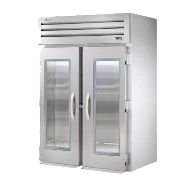 True Stainless Steel Two Glass Door Two Section Roll-In Refrigerator