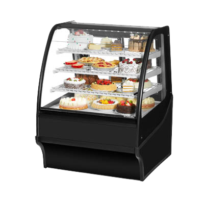 "superior-equipment-supply - True Food Service Equipment - True Black Powder Coated 36""W Exterior Refrigerated Merchandiser With PVC Coated Wire Shelving"