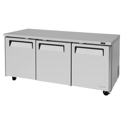 "superior-equipment-supply - Turbo Air - Turbo Air 72.6"" Wide Stainless Steel Three-Section Undercounter Refrigerator"