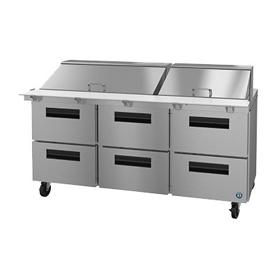 "superior-equipment-supply - Hoshizaki - Hoshizaki 72"" Wide Three Section Reach In Refrigerated Sandwich Prep Unit With Six Drawers"