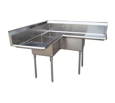 "superior-equipment-supply - Turbo Air - Turbo Air 57"" Wide Stainless Steel Three Compartment Corner Sink"