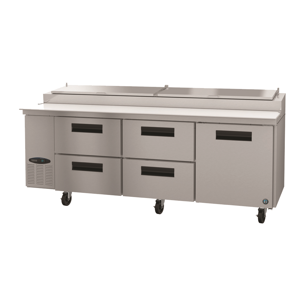 "superior-equipment-supply - Hoshizaki - Hoshizaki Stainless Steel Three Section Four Drawer 93"" Pizza Prep Table"