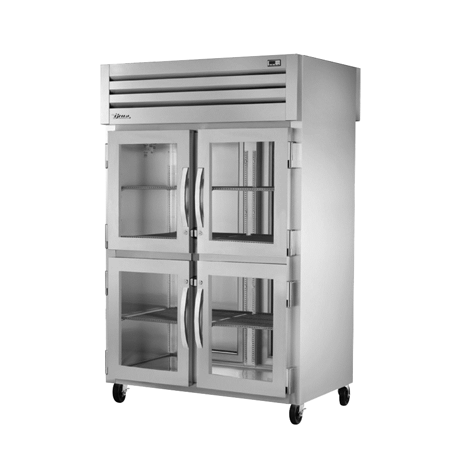 superior-equipment-supply - True Food Service Equipment - True Two-Section Four Stainless Steel Half Door Front & 2 Stainless Steel Door Rear Pass-Thru Refrigerator