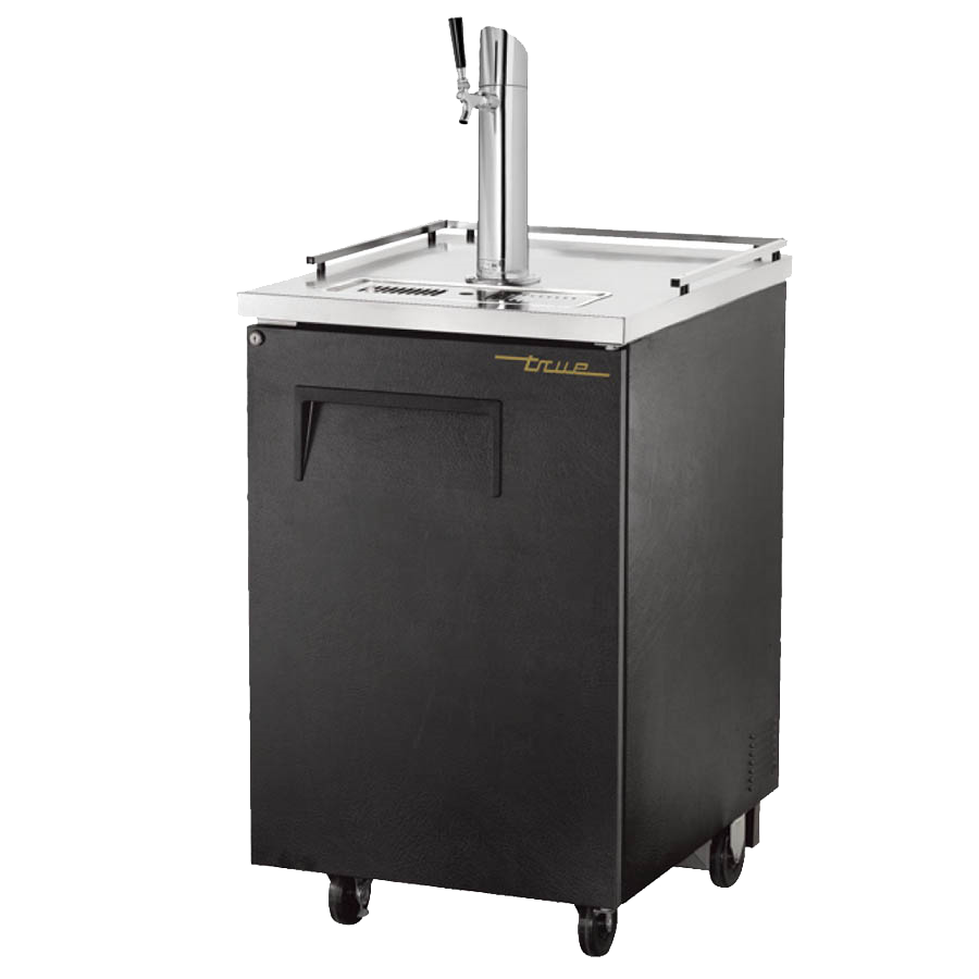 "superior-equipment-supply - True Food Service Equipment - True Black Vinyl Exterior (1) Tap Dispenser (1) Keg Capacity Draft Beer Cooler 23.5""W"