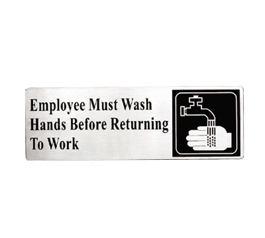 "Tablecraft Cash & Carry Sign ""Employees Must Wash Hands Before Returning To Work"""