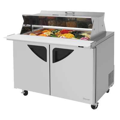 "superior-equipment-supply - Turbo Air - Turbo Air 48.25"" Wide Stainless Steel Two-Section Sandwich/Salad Mega Top Unit With Dual Sided Lid"