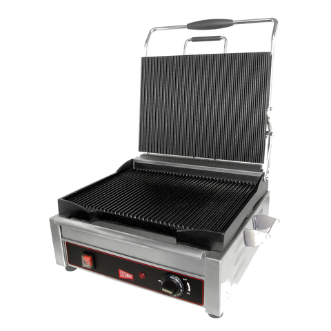 "superior-equipment-supply - Grindmaster Cecilware - Grindmaster Cecilware Single Sandwich/Panini Grill 14""W X 11""D Grooved"