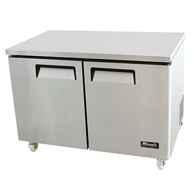 "superior-equipment-supply - Migali - Migali 48.2""W Stainless Steel Two-Section Two Solid Door Undercounter Refrigerator"