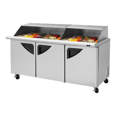 "superior-equipment-supply - Turbo Air - Turbo Air 72.6"" Wide Stainless Steel Sandwich/Salad Mega Top Unit With Slide-Back Lid"