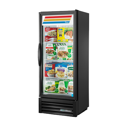 "superior-equipment-supply - True Food Service Equipment - True Black Powder Coated One Section Freezer Merchandiser 25""W"