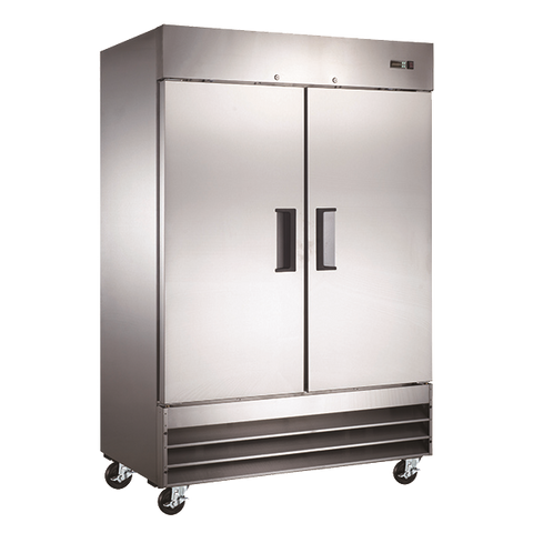 "Omcan 54"" Wide Stainless Steel Reach-In Freezer 47 cu. ft. Two Section With Two Solid Doors & Six Shelves"