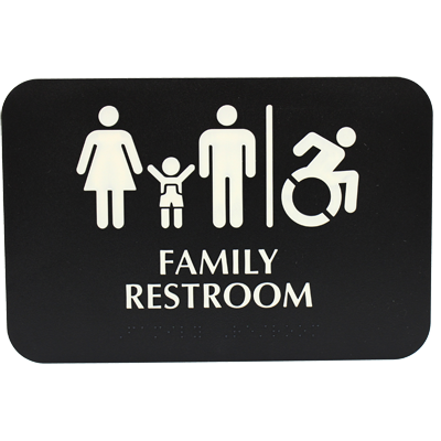 "Tablecraft Cash & Carry Sign Family ""Restroom"""