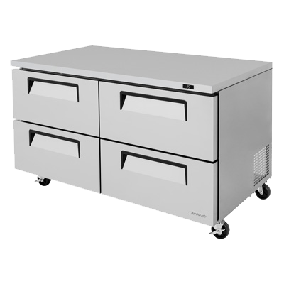 "superior-equipment-supply - Turbo Air - Turbo Air 60.25"" Wide Stainless Steel Two-Section Drawer Access Undercounter Refrigerator"