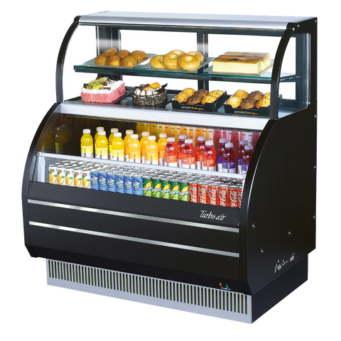 Turbo Air Black Exterior Merchandiser Combination Case With Refrigerated Top Shelf