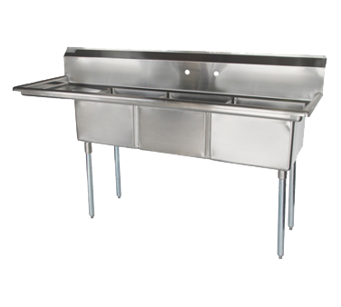 "superior-equipment-supply - Turbo Air - Turbo Air 75"" Wide Stainless Steel Three Compartment Sink"