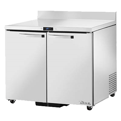 "superior-equipment-supply - True Food Service Equipment - True Stainless Steel Two Section Two Door Work Top Refrigerator 36""W"