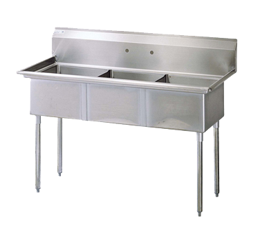 "superior-equipment-supply - Turbo Air - Turbo Air 60"" Wide Stainless Steel Three Compartment Sink"