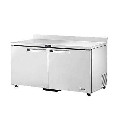 "superior-equipment-supply - True Food Service Equipment - True Stainless Steel Two  Section Two Door ADA Compliant Work Top Refrigerator 60""W"