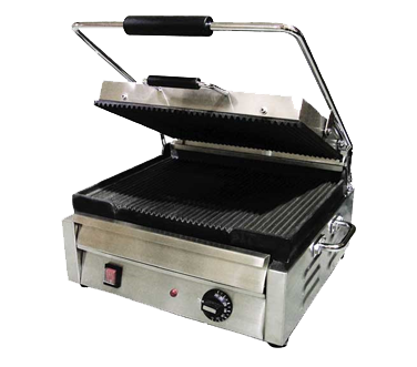 "Omcan 17"" Wide Single Sandwich Grill Ribbed Top & Bottom"