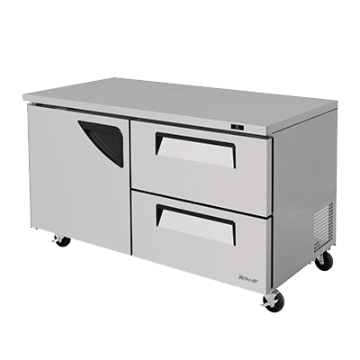"superior-equipment-supply - Turbo Air - Turbo Air 60.25"" Wide Stainless Steel Two-Section Undercounter Refrigerator"