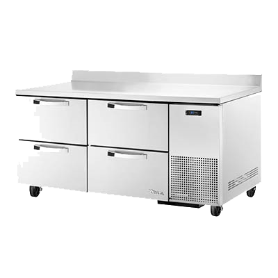 "superior-equipment-supply - True Food Service Equipment - True Stainless Steel Two Section Four Drawer Deep Work Top Refrigerator 67""W"