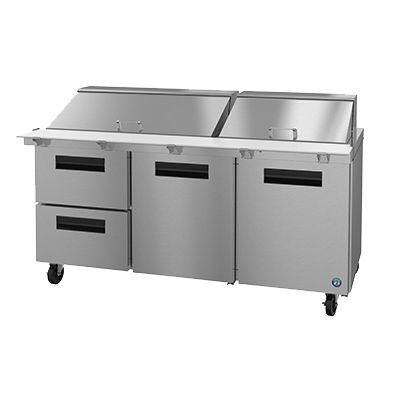 "superior-equipment-supply - Hoshizaki - Hoshizaki Stainless Steel Three Section Two Drawer & Two Door 72"" Sandwich Prep Unit"