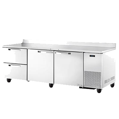 "superior-equipment-supply - True Food Service Equipment - True Stainless Steel Three Section Two Door Two Drawer Deep Work Top Refrigerator 93""W"