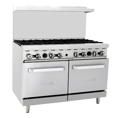 "superior-equipment-supply - Migali - Migali 48""W Stainless Steel Eight Burner Liquid Propane Range"