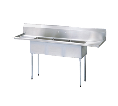 "superior-equipment-supply - Turbo Air - Turbo Air 102"" Wide Stainless Steel Three Compartment Sink"