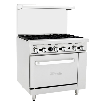 "superior-equipment-supply - Migali - Migali 36"" Wide Stainless Steel Six Burner Natural Gas Range"