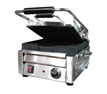 "Omcan 14"" Wide Single Sandwich/Panini Grill With Ribbed Top & Bottom"