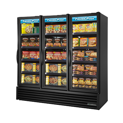 superior-equipment-supply - True Food Service Equipment - True Black Powdered Three Section Full Length Freezer Merchandiser