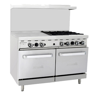 "superior-equipment-supply - Migali - Migali 48""W Stainless Steel Four Burner Range With 24"" Griddle & Two Ovens"