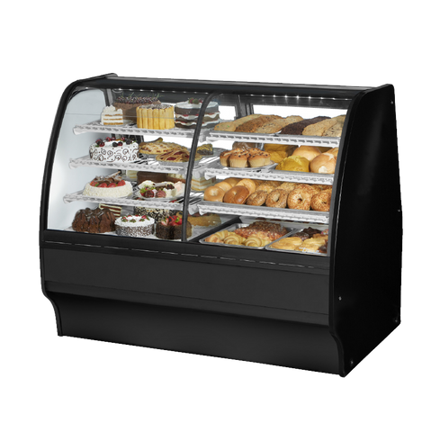 "superior-equipment-supply - True Food Service Equipment - True Black Powder Coated 59""W Dual Zone Glass Merchandiser With PVC Coated Wire Shelving"