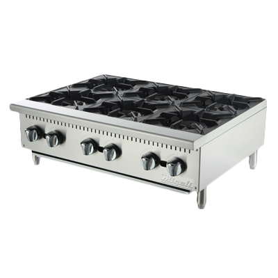 "Migali 36""W Stainless Steel Six Burner Natural Gas Countertop Hotplate"