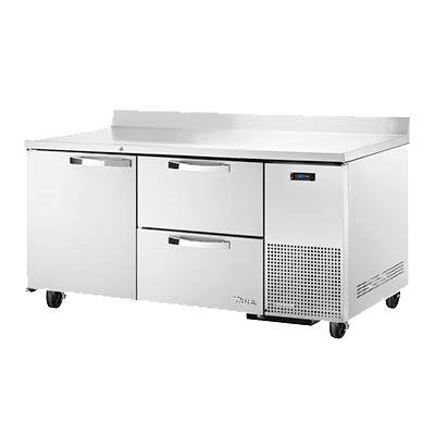 "superior-equipment-supply - True Food Service Equipment - True Stainless Steel Two Section One Door Two Drawer Deep Work Top Refrigerator 67""W"