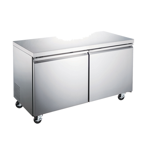 "Omcan 47.2"" Wide Stainless Steel Two Section Under Counter Freezer"