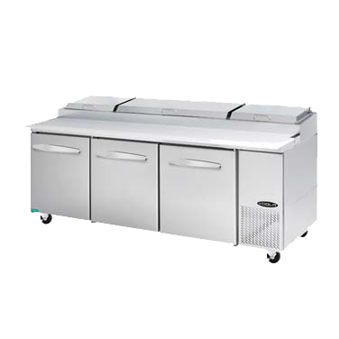 "superior-equipment-supply - MVP Group - Kool-It Stainless Steel Three Section Three Door Pizza Prep Table 93.3""W"