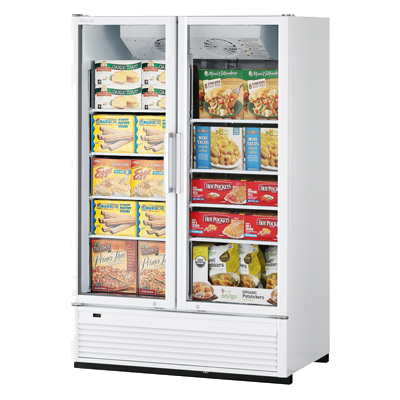 "superior-equipment-supply - Turbo Air - Turbo Air 51.13"" Wide Two Section Stainless Steel Super Deluxe Freezer Merchandiser"