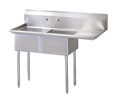 "superior-equipment-supply - Turbo Air - Turbo Air 57"" Wide Stainless Steel Two Compartment Sink"