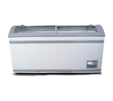 "Omcan 58"" Wide White Painted Steel Ice Cream Freezer"