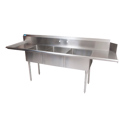 "superior-equipment-supply - BK Resources - BK Resources Stainless Three Compartment Steel Dishtable 100""W x 30-1/2""D x 44""H"