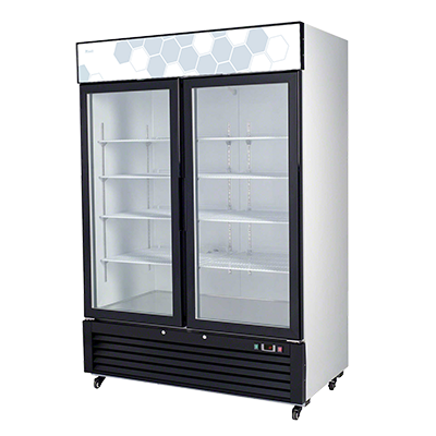 "superior-equipment-supply - Migali - Migali 54.4""W White Powder Coated Steel Two-Section Two Door Refrigerator Merchandiser"