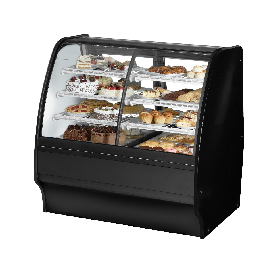 "superior-equipment-supply - True Food Service Equipment - True Black Powder Coated 48"" Dual Zone Glass Merchandiser With PVC Coated Wire Shelving"